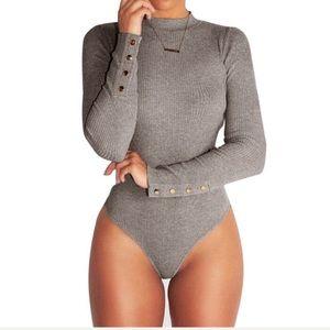 Ribbed Bodysuit Sexy spring Slim Romper